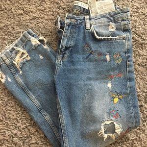 Zara Denim Boyfriend Jeans, Size 2